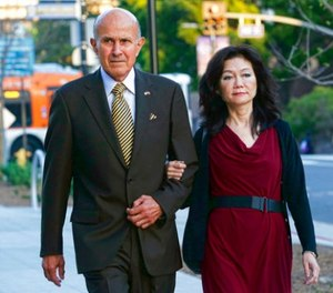 Former Los Angeles County Sheriff Lee Baca arrives with his wife at federal court in Los Angeles on Wednesday, March 15, 2017. (AP Photo/Nick Ut)