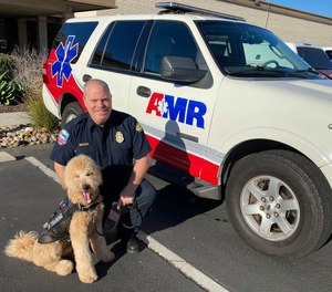 The 2-year-old dog — a mix of poodle and Golden retriever known as a Goldendoodle — routinely visits withAmerican Medical Responseparamedics and dispatchers after emergency calls, both at the company'sKearny Mesaoffice and near ambulance bays at local hospitals.
