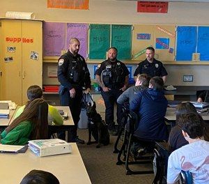 Chelan County deputies visit Orchard Middle School in Wenatchee, Washington, on February 12, 2020.