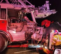 Tractor-trailer crashes into Texas fire truck blocking accident scene