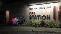Houston firefighter injured after car crashes into fire station