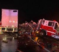 4 first responders hurt in apparatus crash with semitruck