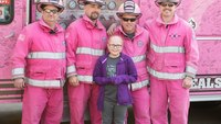 First responders in pink gear surprise girl, 10, diagnosed with leukemia