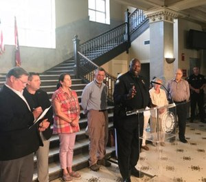 Little Rock Police Chief Kenton Buckner speaks during a news conference at City Hall in Little Rock, Ark., Saturday, July 1, 2017. (AP Photo/Andrew DeMillo)