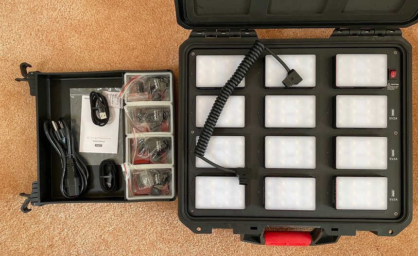 The MC-12 case has a built-in accessory drawer (left) with plenty of extra room to add more gear. Note the D-Tap cable on top of the lights.