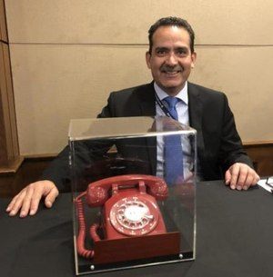 The author was entrusted with the safety and security of the phone used to make the first 911 call in the nation during its trip to Washington this week. (Photo/Eddie Reyes)