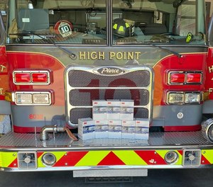 High Point firefighters say an anonymous donor left eight boxes containing 160 N95 respirator masks with their fire engine while they were out shopping for groceries.