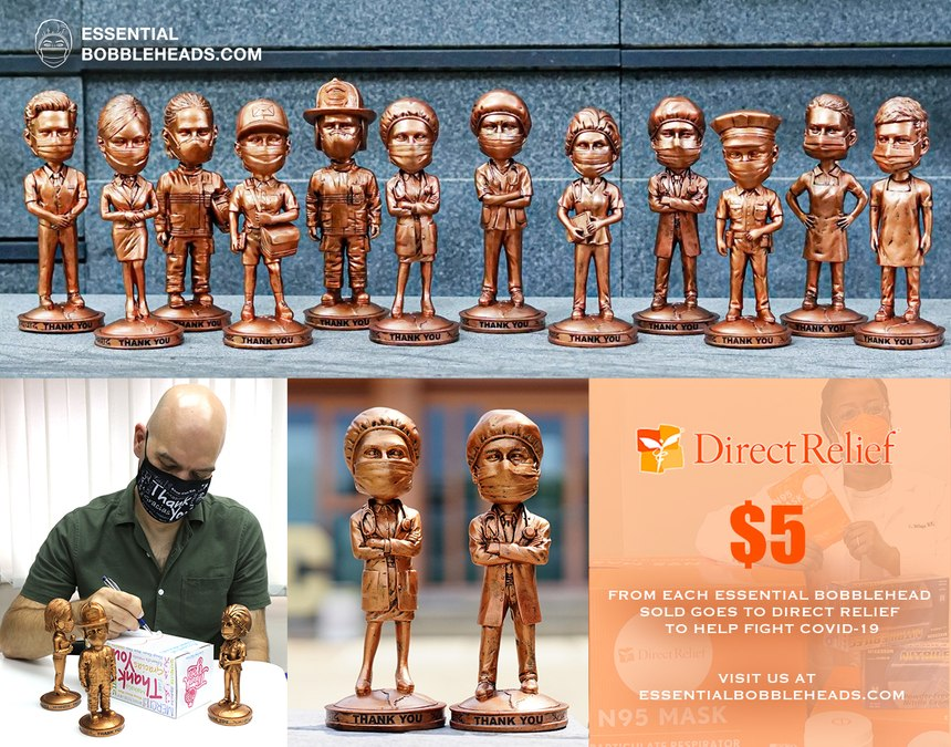 Koanz Inc is selling Essential Worker Bobbleheads depicting first responders, healthcare workers and more. A portion of proceeds will go toward the charity Direct Relief to buy PPE.