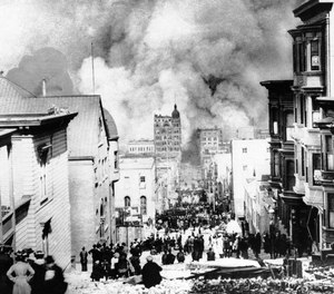 Massives fires in the aftermath of the Great Earthquake of 1906 destroyed thousands of buildings and threatened to turn the entire city of San Francisco into a pile of ash. Firefighting efforts were hampered both by debris leftover from the quake and by the destruction of water mains and cisterns firefighters relied on for water supply.