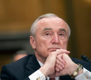 This Feb. 2, 2016, file photo shows New York City Police Commissioner William Brattonwhile testifying in Washington before the Senate Homeland Security and Government Affairs Committee hearing on the frontline response to terrorism.