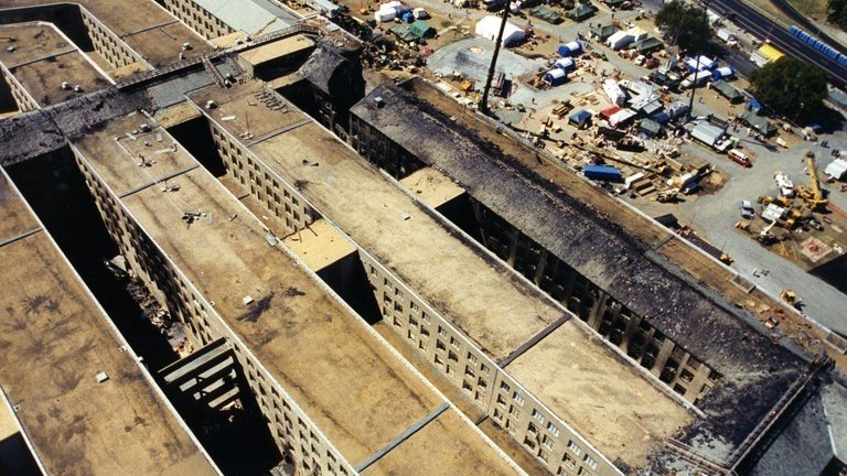 Fire traveled to the roof structures that cover the inner and outer rings and the corridors of the Pentagon. By the middle of the night, fire was running under much of the structure, prompting firefighters to go backto work on fire suppression efforts.