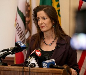 Oakland Mayor Libby Schaaf takes questions from the media during a press conference at City Hall in Oakland, Calif., Wednesday, Feb. 27, 2018.