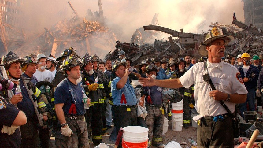 Rescue and recovery operations continue on Thursday, Sept. 13, 2001,at the World Trade Center site.