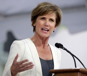 This May 24, 2017, file photo shows former U.S. Deputy Attorney General Sally Yates delivering an address in Cambridge, Mass. Yates will lead an independent investigation into a report that Minneapolis police officers have repeatedly asked medical responders to sedate people with the powerful tranquilizer ketamine.