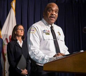 In this file photo, Chicago Police Superintendent Eddie Johnson speaks at a news conference in Chicago.