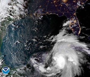 Hurricane Michael intensified into a Category 2 over warm Gulf of Mexico waters Tuesday amid fears it would strike Florida on Wednesday as an even stronger hurricane. (Photo/NOAA via AP)