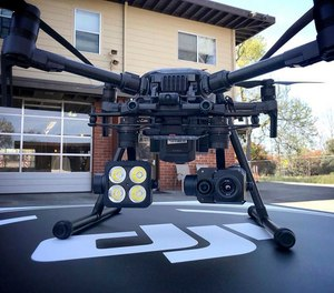 This 2018 photo provided by the Menlo Fire UAS shows a DJI drone with a thermal-imaging camera designed by FLIR Systems in Menlo Park, Calif. (Menlo Fire UAS/Drone Program via AP)