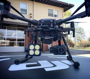 This 2018 photo provided by the Menlo Fire UAS shows a DJI drone with a thermal-imaging camera designed by FLIR Systems in Menlo Park, Calif.
