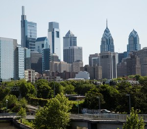This photo shows the skyline in Philadelphia along the Schuylkill River, Thursday, May 16, 2019.