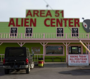 Photo shows the Area 51 Alien Center in Amargosa Valley, Nevada, about 90 miles north of Las Vegas. (Photo/Richard Brian, Las Vegas Review-Journal via AP)
