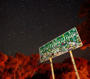 In this July 22, 2019 file photo, a sign advertises state route 375 as the Extraterrestrial Highway, in Crystal Springs, Nev., on the way to Nevada Test and Training Range near Area 51. (Photo/AP, John Locher)
