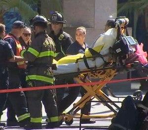 Emergency personnel respond to a hazmat incident at the Fairmont Hotel. (Photo/KTVU via AP)