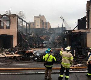 Firefighters in Duluth, Minn., battle a blaze at the Adas Israel Congregation. (Dan Kraker/Minnesota Public Radio via AP)