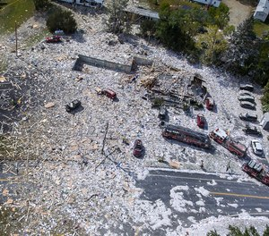 An aerial view of the devastation after an explosion at the Life Enrichment Advancing People (LEAP) building in Farmington, Maine killed one firefighter and injured multiple other people, including six firefighters, on September 16, 2019.