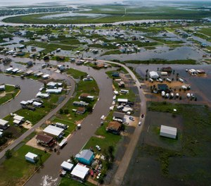 According to Matagorda County Constable Bill Orton, Sargent received 22 inches of rain since Imelda started impacted the area on Tuesday. Photographed from above Sargent, Texas. (Photo/Mark Mulligan, Houston Chronicle via AP)