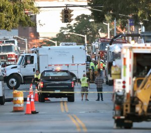 Emergency personnel respond after a reported gas leak early Friday, Sept. 27, 2019 in Lawrence, Mass. (Photo/David L. Ryan, The Boston Globe via AP)