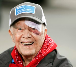 In this Monday, Oct. 7, 2019 file photo, Former President Jimmy Carter answers questions during a news conference at a Habitat for Humanity project, in Nashville, Tenn. Carter has been hospitalized after an another fall at his home in Plains, Ga. A statement from The Carter Center says Carter suffered