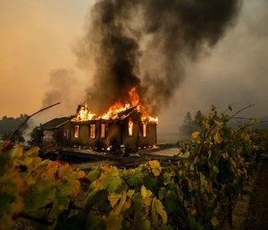 Vines surround a burning building as the Kincade Fire burns through the Jimtown community of unincorporated Sonoma County, Calif. (AP Photo/Noah Berger)