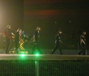 Emergency crews arrive with supplies at Sutter Santa Rosa Regional Hospital to evacuate patients in Santa Rosa, Calif., on Saturday, Oct. 26, 2019. (AP Photo/Ethan Swope)
