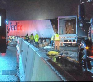 Emergency crews respond to a fatal crash on the Pennsylvania Turnpike in Mount Pleasant Township early Sunday morning, Jan. 5, 2020. Multiple people were killed early Sunday in a crash involving a passenger bus, two tractor-trailers and passenger vehicles in Pennsylvania, officials said. (Photo/WPXI TV via AP)