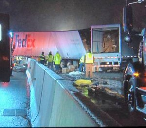 Emergency crews respond to a fatal crash on the Pennsylvania Turnpike in Mount Pleasant Township early Sunday morning, Jan. 5, 2020. Multiple people were killed early Sunday in a crash involving a passenger bus, two tractor-trailers and passenger vehicles in Pennsylvania, officials said.