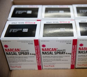 Shown are boxes of the overdose-reversal drug Narcan.