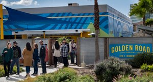 Patrons leave the Golden Road Brewery after they were told by employees that the governor ordered bars to close temporarily to prevent the spread of the coronavirus, Sunday, March 15, 2020 in Anaheim Calif. Image: Mindy Schauer/The Orange County Register via AP