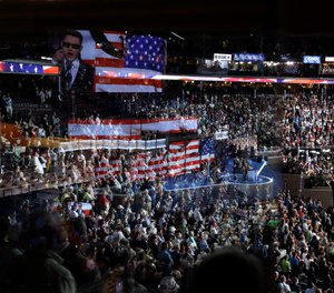 In this July 26, 2016, file photo Timmy Kelly sings the national anthem before the start of the second day of the Democratic National Convention at the Wells Fargo Arena in Philadelphia. (AP Photo/John Locher, File)