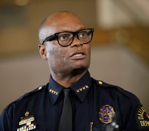 In this June 15, 2015, file photo, Dallas Police Chief David Brown briefs the media about a shooting at Dallas Police headquarters in Dallas. Chicago Mayor Lori Lightfoot on Thursday, April 2, 2020, named Brown to lead the police force in the nation's third largest city. (AP Photo/Tony Gutierrez, File)