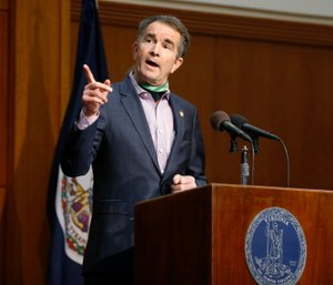 Virginia Gov. Ralph Northam speaks during the COVID-19 update news conference in the Patrick Henry Building in Richmond, Va. (Mark Gormus/Richmond Times-Dispatch via AP)