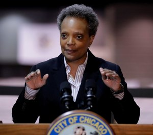 In this April 10, 2020, file photo Chicago Mayor Lori Lightfoot speaks during a news conference. (AP Photo/Nam Y. Huh, File)