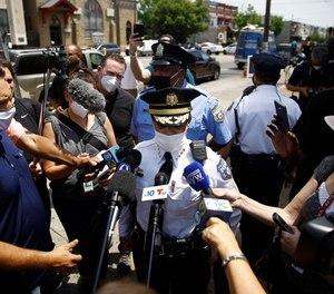 Philadelphia Police Commissioner Danielle Outlaw talks with the media, Thursday, June 4, 2020, in Philadelphia.