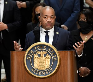New York Sate Assembly Speaker Carl Heastie, D-Bronx, speaks in favor of new legislation for police reform during a news briefing at the state Capitol Wednesday, June 8, 2020, in Albany, N.Y. (AP Photo/Hans Pennink)