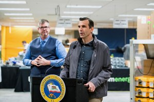 San Jose Mayor Sam Liccardo speaks during a news conference at the Bloom Energy campus in Sunnyvale, Calif. back in March. During Wednesday's meeting, he reiterated that he is not considering defunding the city's police department. Image: Beth LaBerge/KQED via AP
