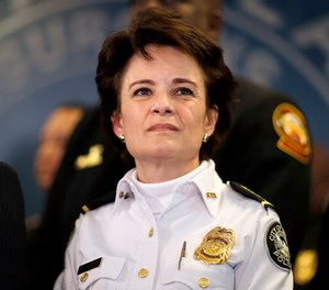 In this Thursday, Jan. 4, 2018, file photo, Atlanta Police Chief Erika Shields attends a news conference in Atlanta.
