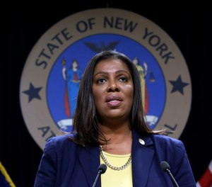 New York State Attorney General Letitia James speaks during a news conference on November 19, 2020. (AP Photo/Richard Drew, File)