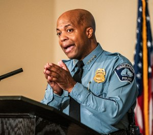 Minneapolis Police Department Chief of Police Medaria Arradondo, speaks in Minneapolis. (Photo/Richard Tsong-Taatarii/Star Tribune via AP File)