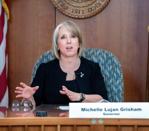 New Mexico Gov. Michelle Lujan Grisham gives an update on the COVID-19 outbreak in the state Capitol during a news conference in Santa Fe, N.M. on April 15, 2020.