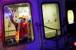 A contractor cleans a subway car at the 96th Street station to control the spread of COVID-19, Thursday, July 2, 2020, in New York. Mass transit systems around the world have taken unprecedented — and expensive — steps to curb the spread of the coronavirus. Image: AP Photo/John Minchillo