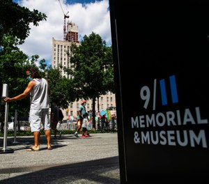 The speakers will read the names of the nearly 3,000 victims who lost their lives in the Sept. 11, 2001 attacks following social distancing measures. (AP Photo/Eduardo Munoz Alvarez)